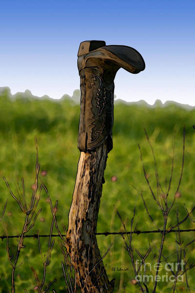 Mixed Media - Boot On The Fence Post by E B Schmidt