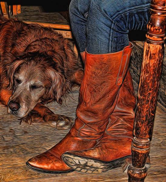 Dog Walker Photograph - Boots And Buddy Painted by Judy Vincent