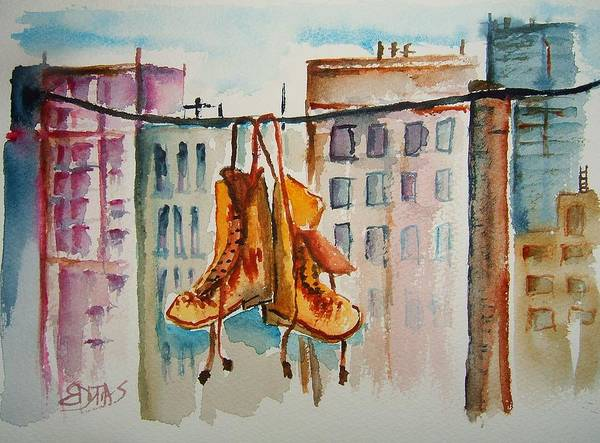 Wall Art - Painting - Boots On A Wire by Elaine Duras