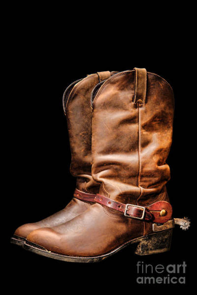 Rodeo Photograph - Boots On Black by Olivier Le Queinec