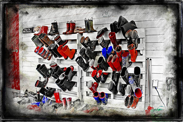 Pioneer School Photograph - Boots On The Wall Means Kids In The Hall by Cye Gray