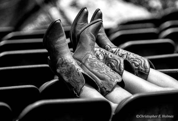 Photograph - Boots Up - Bw by Christopher Holmes