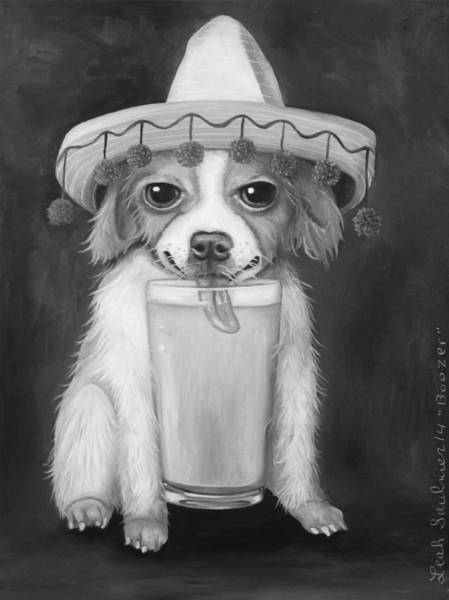 Sombrero Painting - Boozer Bw by Leah Saulnier The Painting Maniac