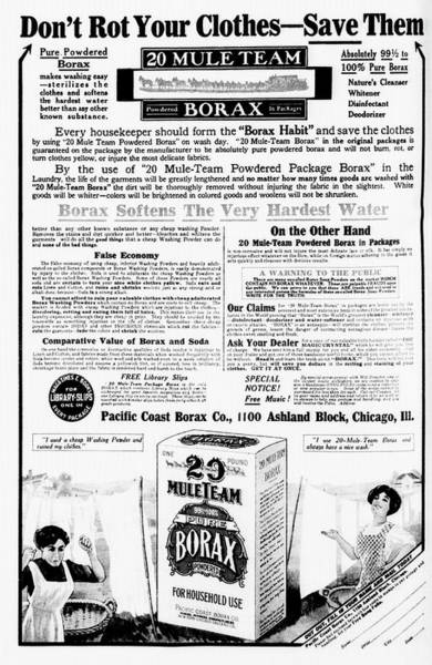Chicago Tribune Wall Art - Photograph - Borax Detergent Advert by Library Of Congress