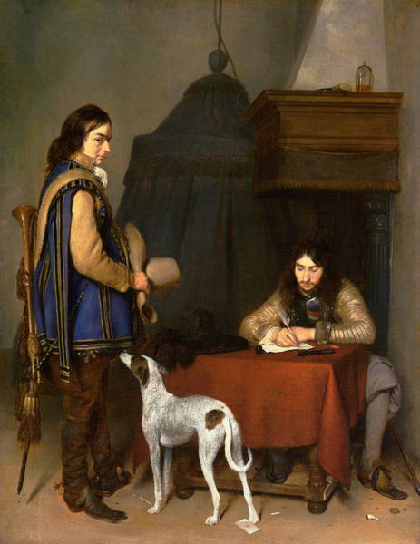 Painting - Borch Officer Writing, C1658-59 by Granger