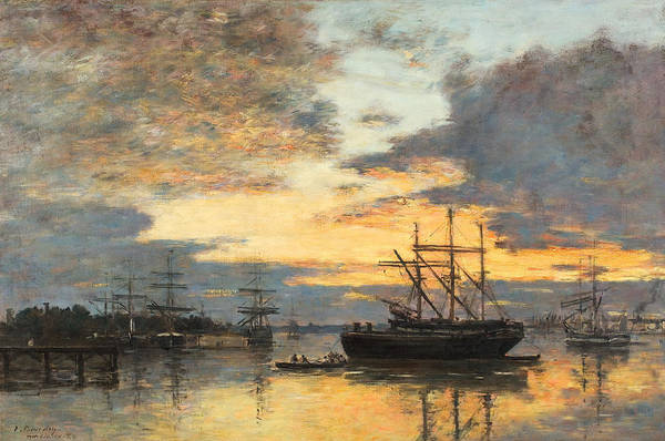 Yellow Ochre Painting - Bordeaux In The Harbor by Eugene Louis Boudin