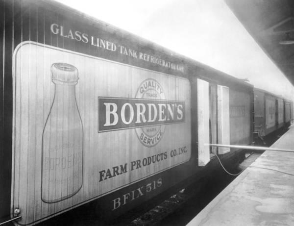 Wall Art - Photograph - Borden's Milk Refrigerator Car by Underwood Archives
