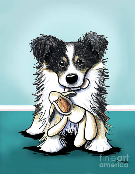 Herd Drawing - Border Collie by Kim Niles