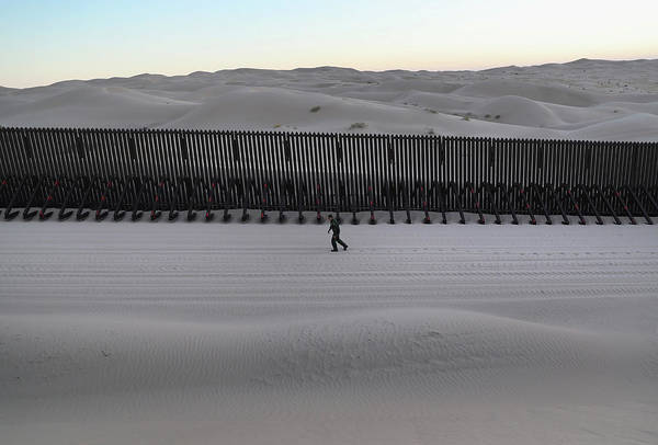 Photograph - Border Patrol Agents Monitor Fence On by John Moore