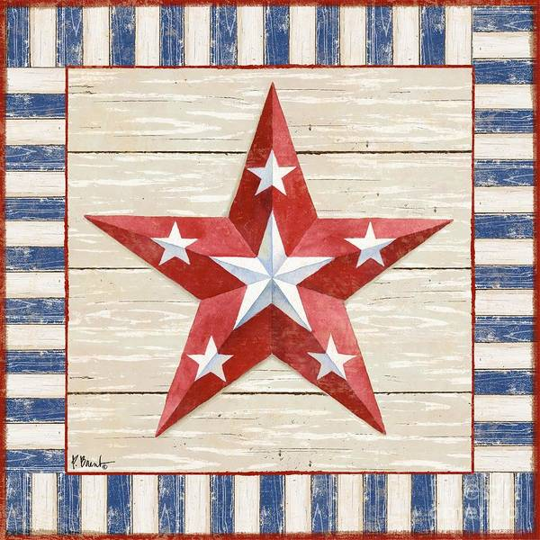 America Painting - Bordered Patriotic Barn Star Iv by Paul Brent