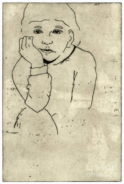 Painting - Boredom - Portrait Of A Child - Childrens World - Childhood - Childs Expression - Etching  by Urft Valley Art