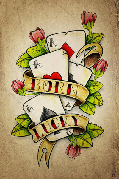 Wall Art - Drawing - Born Lucky by Samuel Whitton