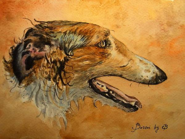 Wall Art - Painting - Borzoi Dog by Juan  Bosco