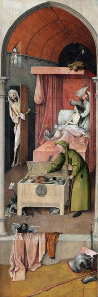 Wall Art - Painting - Bosch Death And The Miser by Granger