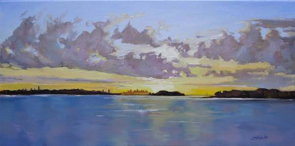 Ocean City Painting - Boston A Glow Two by Laura Lee Zanghetti