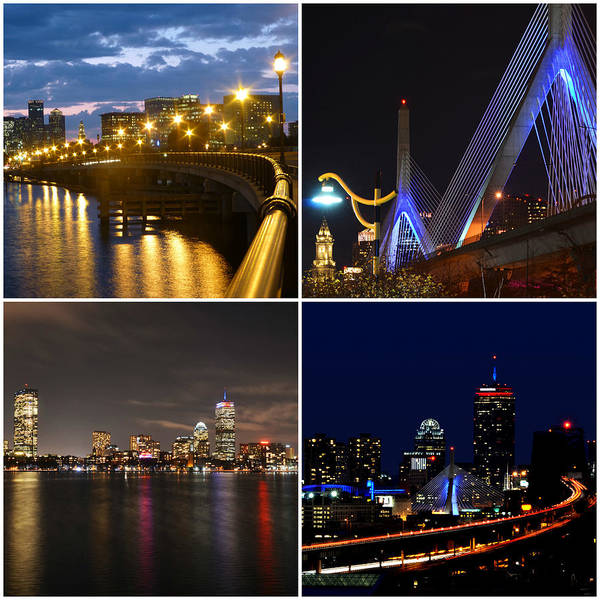 Photograph - Boston At Night Collage by Toby McGuire