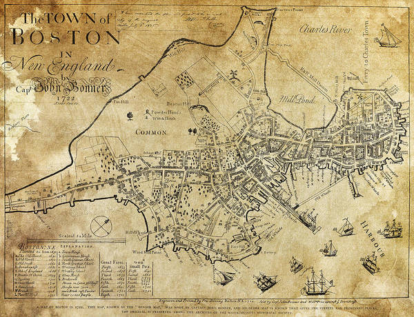 Wall Art - Digital Art - Boston Bonner Map 1722 by Daniel Hagerman