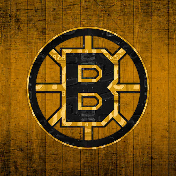 Wall Art - Mixed Media - Boston Bruins Hockey Team Retro Logo Vintage Recycled Massachusetts License Plate Art by Design Turnpike