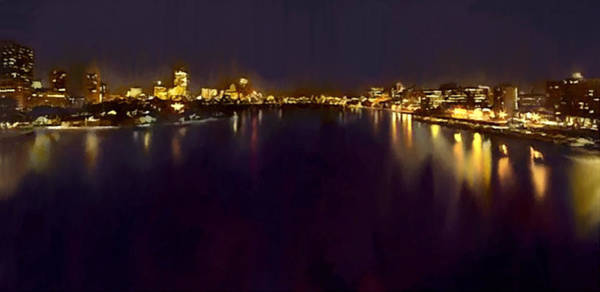 Painting - Boston Charles River Esplanade At Night by Bob and Nadine Johnston