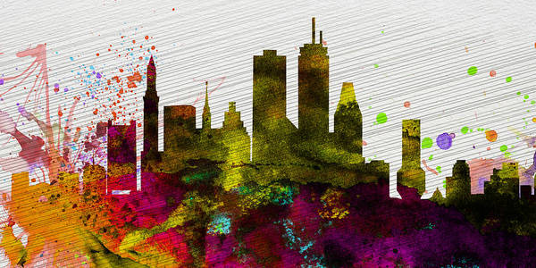 Wall Art - Painting - Boston City Skyline by Naxart Studio