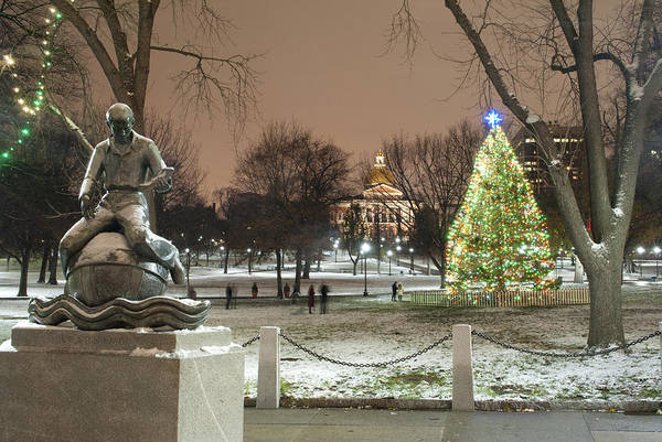 Boston Common Christmas Lights Art Print by Gretchen Lally