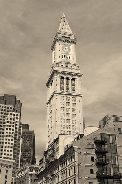 Photograph - Boston Custom House Black And White by Songquan Deng