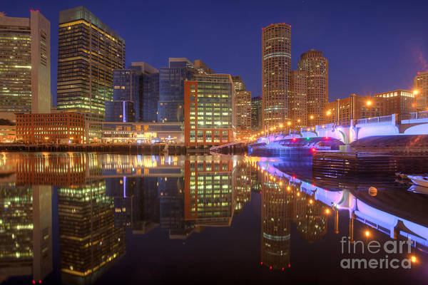 Photograph - Boston Fort Point Channel Morning Twilight I by Clarence Holmes
