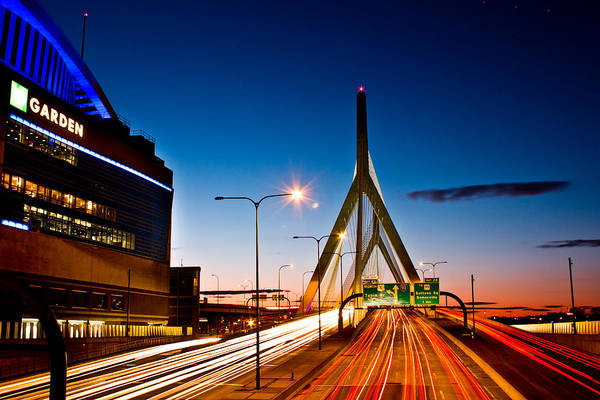 Boston Garden And Bunker Hill Bridge  Art Print