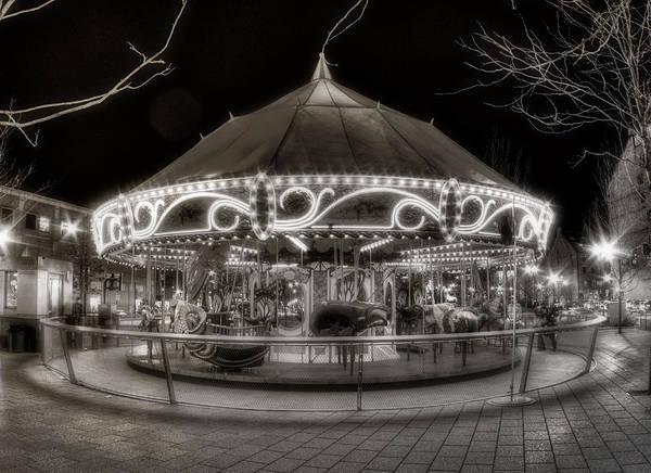 Photograph - Boston Greenway Carousel In Black And White by Joann Vitali