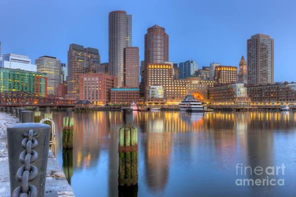 Photograph - Boston Harbor And Skyline Morning Twilight IIi by Clarence Holmes