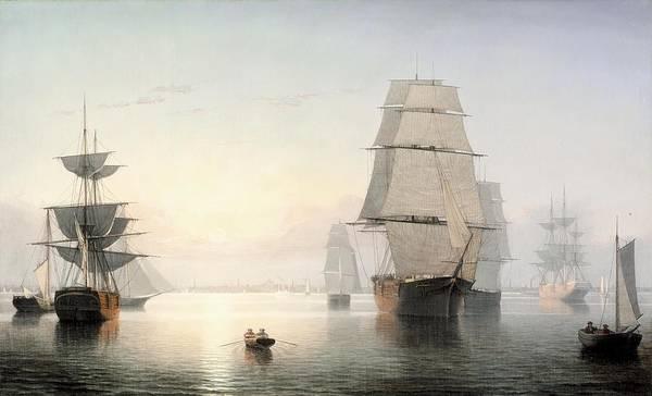 Harbor Scene Digital Art - Boston Harbor At Sunset by Fitz Henry Lane