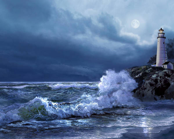 Gina Wall Art - Painting - Boston Harbor Lighthouse Moonlight Scene by Regina Femrite