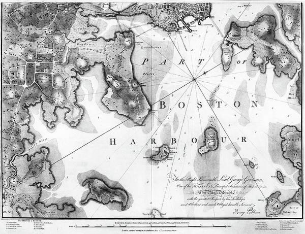 Wall Art - Painting - Boston Harbor Map, 1777 by Granger