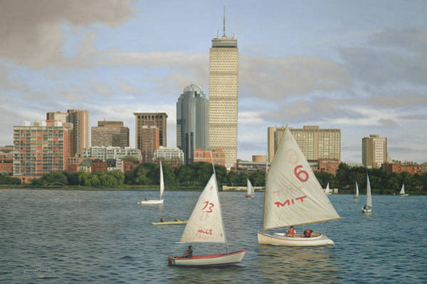 Back Painting - Boston In Blue by Julia O'Malley-Keyes