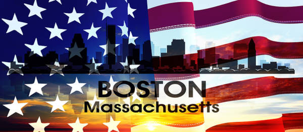 Digital Art - Boston Ma Patriotic Large Cityscape by Angelina Tamez