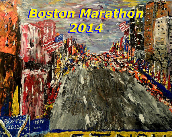 Wall Art - Painting - Boston Marathon 2014 by Mark Moore