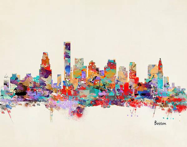 Wall Art - Painting - Boston Massachusetts Skyline by Bri Buckley