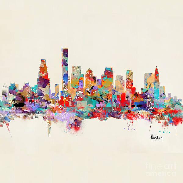 Boston Skyline Wall Art - Painting - boston Massachusetts skyline square   by Bri Buckley