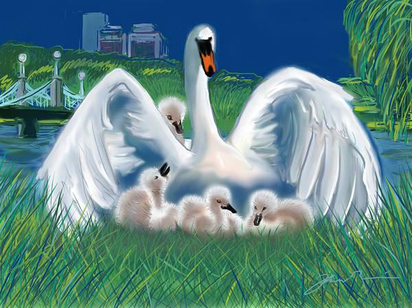 Painting - Boston Public Garden Swan Family by Jean Pacheco Ravinski