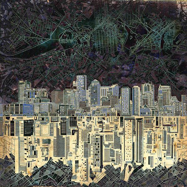 Boston Skyline Wall Art - Painting - Boston Skyline Abstract Antique by Bekim Art