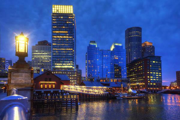 Photograph - Boston Skyline And Tea Party Museum by Joann Vitali