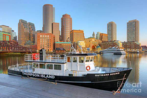 Photograph - Boston Skyline And Thompson Island Ferry I by Clarence Holmes