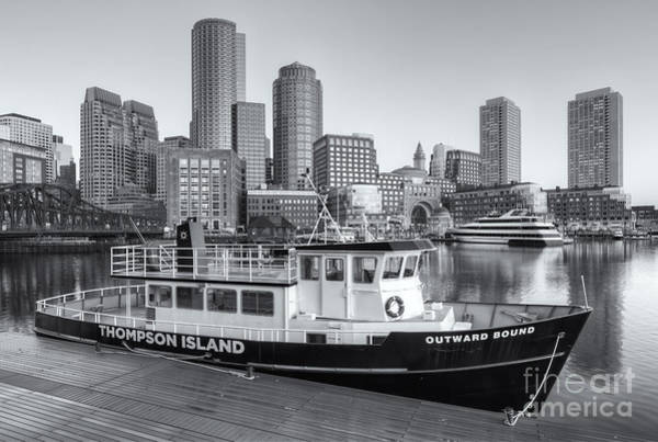 Photograph - Boston Skyline And Thompson Island Ferry II by Clarence Holmes