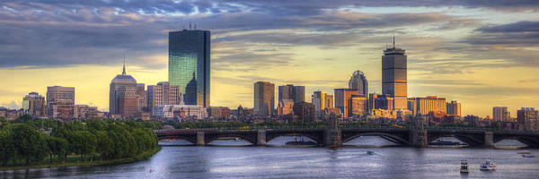 Wall Art - Photograph - Boston Skyline Sunset Over Back Bay Panoramic by Joann Vitali