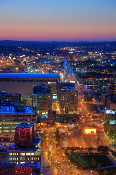 Photograph - Boston Sunset Aerial View by Joann Vitali