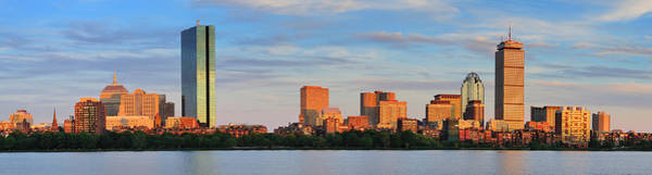 Photograph - Boston Sunset Panorama Over River by Songquan Deng