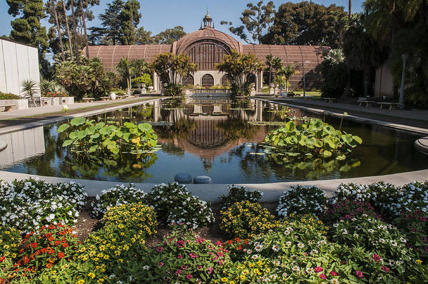 Botanical Building Reflecting In The Lily Pond At Balboa Park Art Print