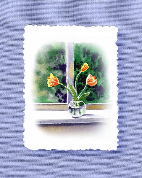 Tulip Bloom Painting - Botanical Impressionism Tulip Bouquet by Irina Sztukowski