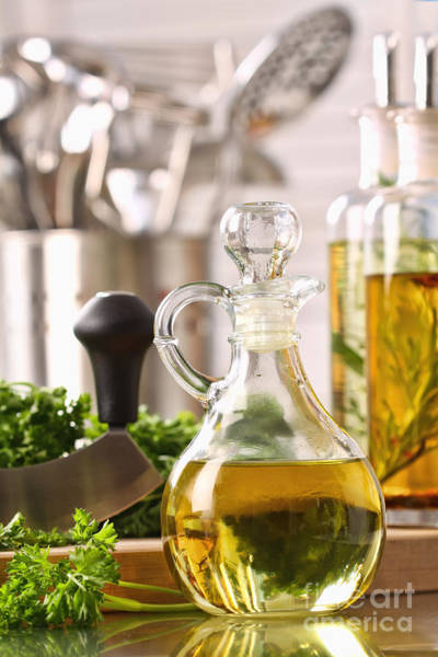 Photograph - Bottle Of Olive Oil And Fresh Parsley  by Sandra Cunningham
