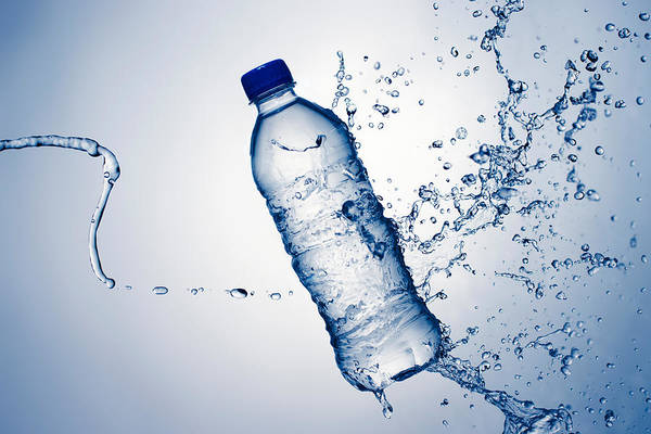 Clear Water Photograph - Bottle Water And Splash by Johan Swanepoel